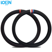 Four Season Breathable Car Steering Wheel Cover Suede Leather Black Non Slip Durable 38cm Diameter Universal