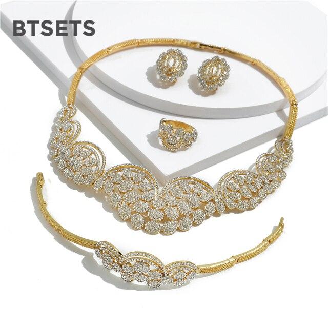 968870e57282 BTSETS Dubai conjunto de joyas oro para las mujeres Nigeria boda Africana  collar perlas indio cristal imitación joyería