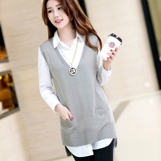Fashion plus size knitting coat V neck sweater vest outerwear ...