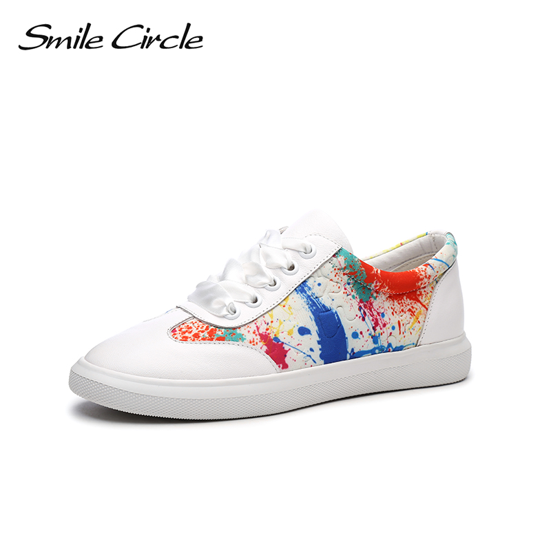Smile Circle 2018 Spring Genuine Leather Sneakers Women Fashion Graffiti Lace up Flat Platform Shoes Girl