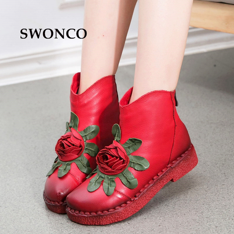 SWONCO Women's Vintage Ankle Boots Genuine Leather Handmade Ladies Boot Winter Women Boots 2018 Soft Bottom Flowers Woman Shoes huizumei new genuine leather women s boots autumn and winter shoes retro handmade round toe soft bottom rubber ankle ladies boot