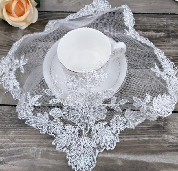 Luxury Lace embroidery placemat cup coaster tea coffee mug kitchen drink dish table place mat cloth wedding doilies dining pad in Mats Pads from Home Garden