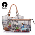Realer brand women pattern PU printing handbags woman bag eiffel tower handbags vintage bags large shoulder bag