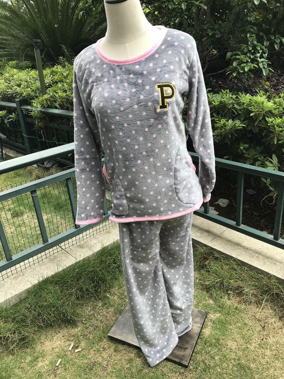 7a24f46692 Invierno Pijamas Mujer completa poliéster pantalones dama de dos ...