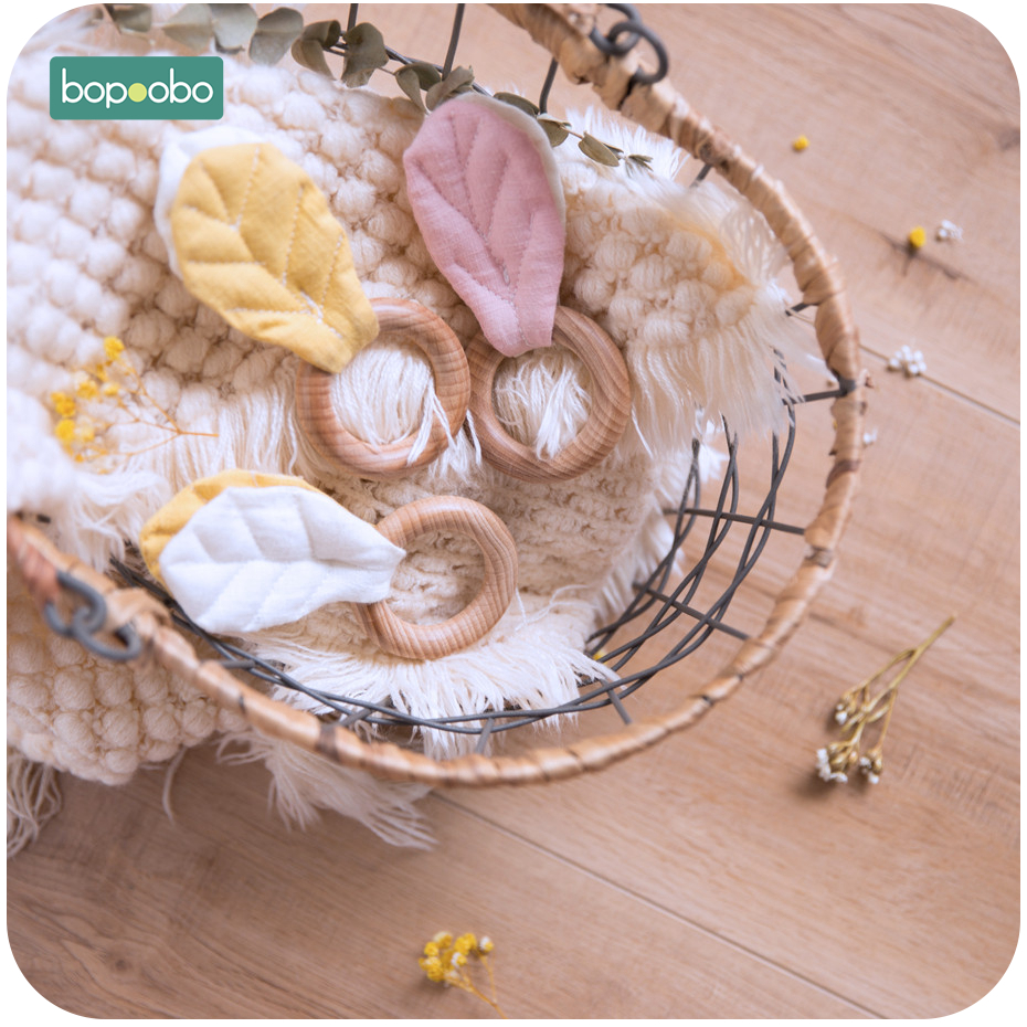 Bopoobo 1pc 54mm Beech Wooden Rings Teething Rodent DIY Leaves Accessories Food Grade Wooden Baby Teether New Born Infant Toys