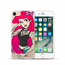Tattooed Disney Princess Soft Silicone Coque Shell Phone Case for iPhone – FREE Shipping