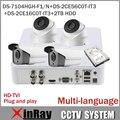 ХИК P2P AHD Камеры Системы Безопасности с 720 P XVR DS-7104HGH-F1/N ДВА Пулевых CameraDS-2CE16C0T-IT3 Два Мини CameraDS-2CE56C0T-IT3