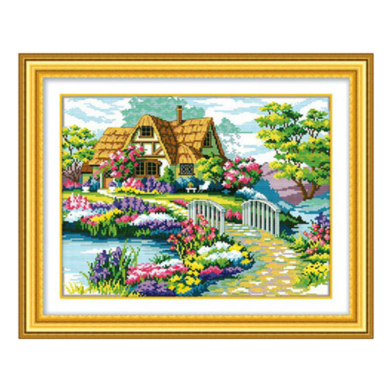 Venta al por mayor de costura 100% precisa impresa DIY Cross Stitch Kit bordado Cruz pared decoración hermosa casa jardín