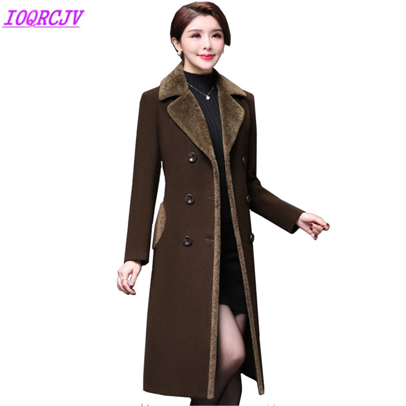 2018 Autumn Winter Women s Woolen Jacket Coats Plus size Middle aged Female Woolen cloth Outerwear