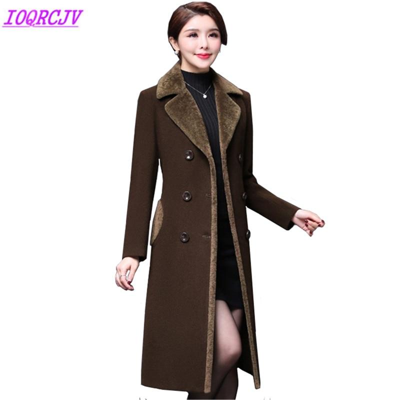 2018 Autumn Winter Womens Woolen Jacket Coats Plus size Middle aged Female Woolen cloth Outerwear Thick Warm Coats IOQRCJV Q011