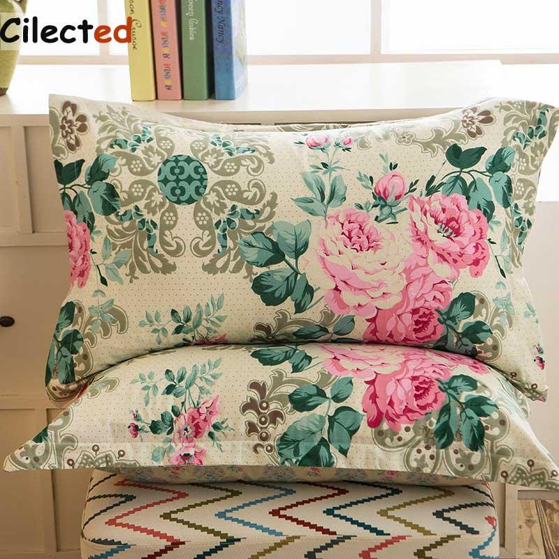 Cilected 1pc/2pcs 100% Cotton Pillow Case Flowers Printed Decorative Pillowcases Cover For Bedding Home Textile 48x74cm