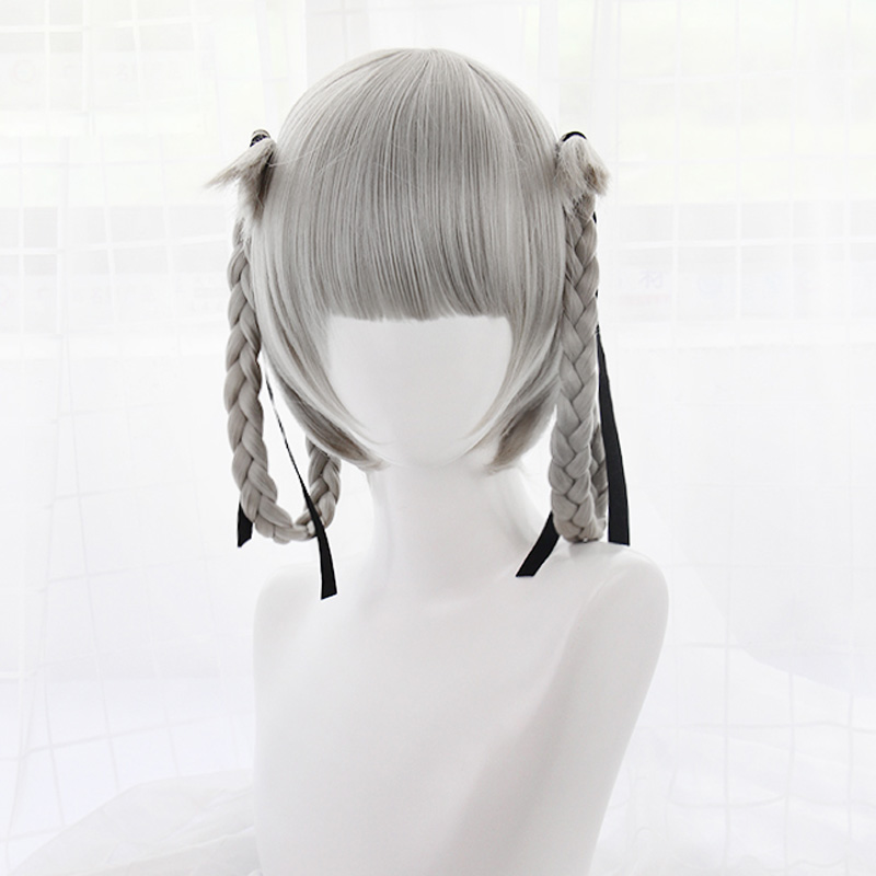 Japanese Anime Kakegurui Kirari Momobami 35cm Short Wigs Gray Braids Styled Clip on Cosplay Wig+ wig cap