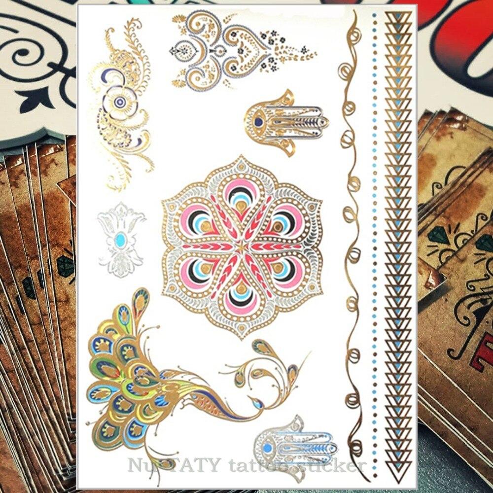 Nu-TATY 24 στυλ Προσωρινή τατουάζ Body Art, Χρώμα παγώνι Χρυσά σχέδια, Flash Τατουάζ αυτοκόλλητο Κρατήστε 3-5 ημέρες αδιάβροχο 21 * 15cm