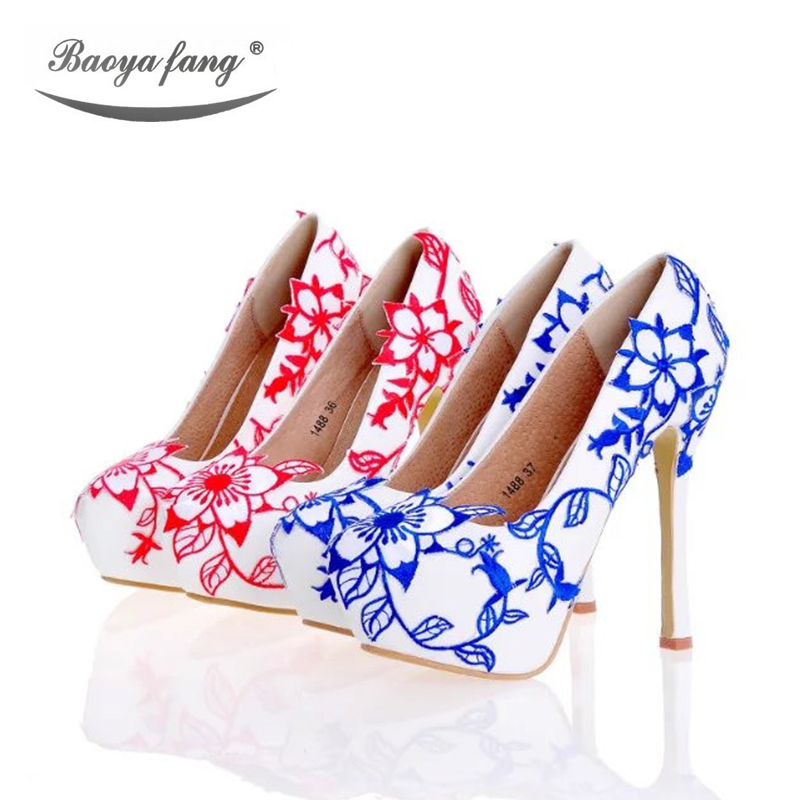 Blue Red flower Wedding shoes womens High heels Pumps platform shoes 2017 Female stage shoes plus size leather insole baoyafang new arrival white pearl tessal womens wedding shoes high heels platform shoes real leather insole high pumps female