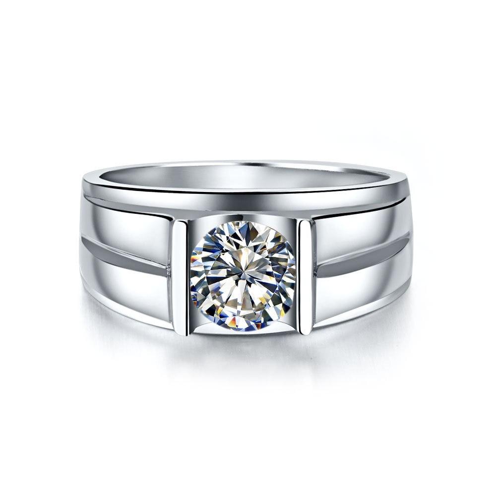Threeman 1ct Positive Moissanite Generous Man Engagement Ring Solitaire  Synthetic Diamonds Ring Moissanite Genuine White Gold