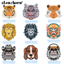 Tiger Dog Lion Animal badge Heat Transfer Stickers Washable Iron On Applique For T-shirt POLO jacket DIY Clothes Decoration(China)