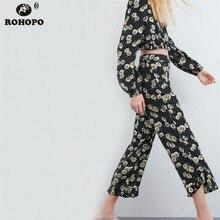 ROHOPO Female Printed Floral Pant Midi Vintage Daisy Polk Dot Ruffles Edged Pencil Bottom #UK9129