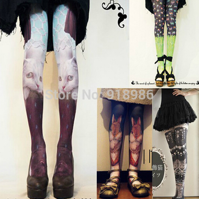 2017 Hot Sale Fashion Women Harajuku Tattoo Printed Tights With Cats 80 Denier Velvet Seamless Pantyhose Stockings