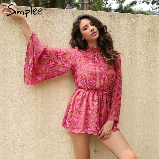 Simplee Backless lace up women jumpsuit romper overalls Print lining bodysuit Sexy 2017 summer overalls playsuit catsuit leotard