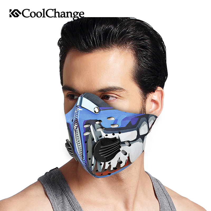 CoolChange Cycling Mask With Filter 9 Colors Half Face Carbon Bicycle Bike Training Mask Mascarilla Polvo Mascaras Ciclismo