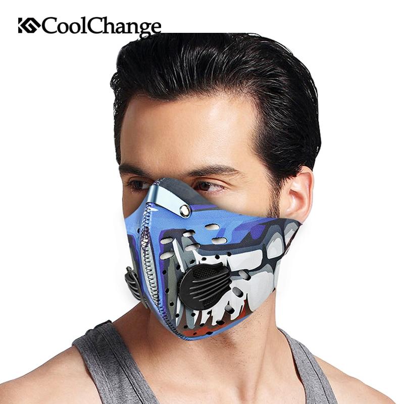 2017 CoolChange Radfahren Maske Mit Filter 9 Farben Half Face Carbon Fahrrad Sporttraining Maske Mascarilla Polvo Mascaras Ciclismo