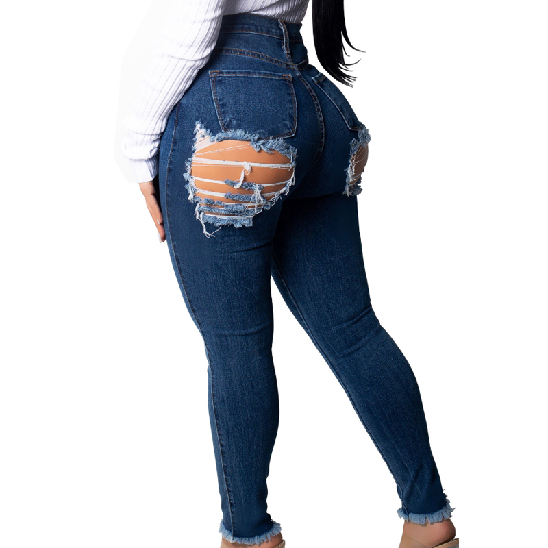 Sexy Butt Ripped   Jeans   For Women Destroyed Back Hole   Jeans   Woman High Waist Butt Lift Stretch Ripped Skinny   Jeans   Big Butt Denim