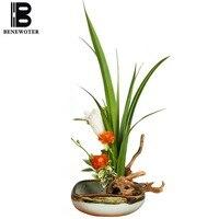 Creative Hand Painted Blue and White Porcelain Flowerpot Vase Fruit Plate Ceramic Planter Tabletop Flowerpot Tea Room Soft Decor