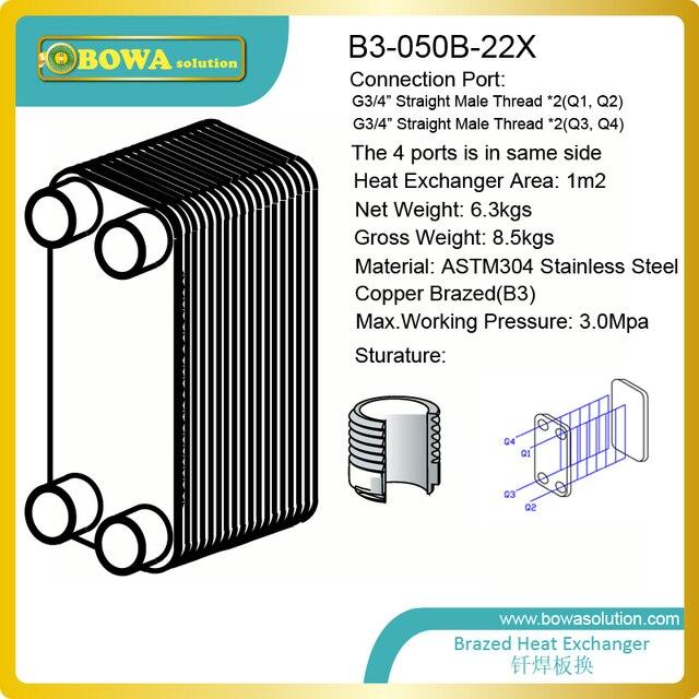 30KW (wasser zu wasser) B3 050B 22X Edelstahl plattenwärmetauscher ...