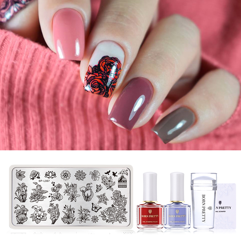 BORN PRETTY Nail Stamping Kit 2 Bottles Stamping Nail