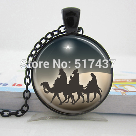 CR49-Christmas Jewelry Three Wise Men Nativity Star of Bethlehem Art Pendant with Ball Chain Included HZ1