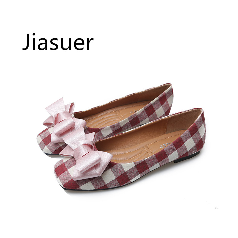 Jiasuer High Quality Classic Plaid Shoe Women Flats Fashion Bowknot Metal Women's Flats Luxury Brand Ladies Boat Shoes Plus Size цена 2017