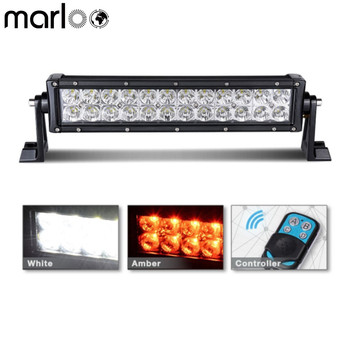 Marloo Car 13.5 Inch 72W Led Work Light Bar White Amber Double Color Switched Strobe Flash For Offroad Vehicle ATV SUV 4X4 Truck