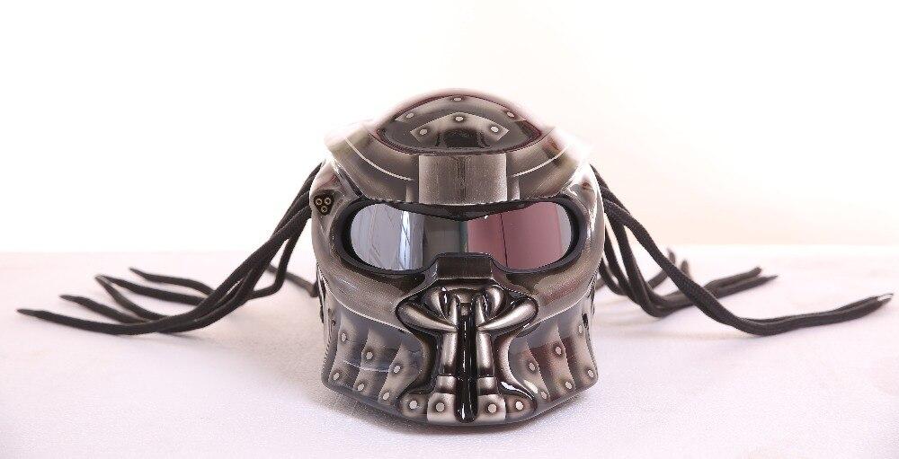 Qualità Casco MASEI IRONMAN Grigio Predators maschera in fibra di vetro neca moto rcycle casco del fronte Pieno di ferro uomo moto DOT M L XL