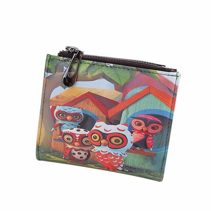 Fashion New Brand Women Vintage Owl Coin Clip Purse High Quality Zipper Short Wallets Cute Clutch Handbags wallets women S