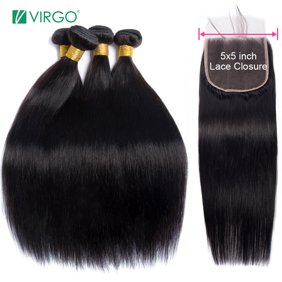 Virgo Brazilian Straight Hair Bundles With Closure 5x5 Lace Closure With 3 Bundles Weave Remy Human Hair Bundles With Closure