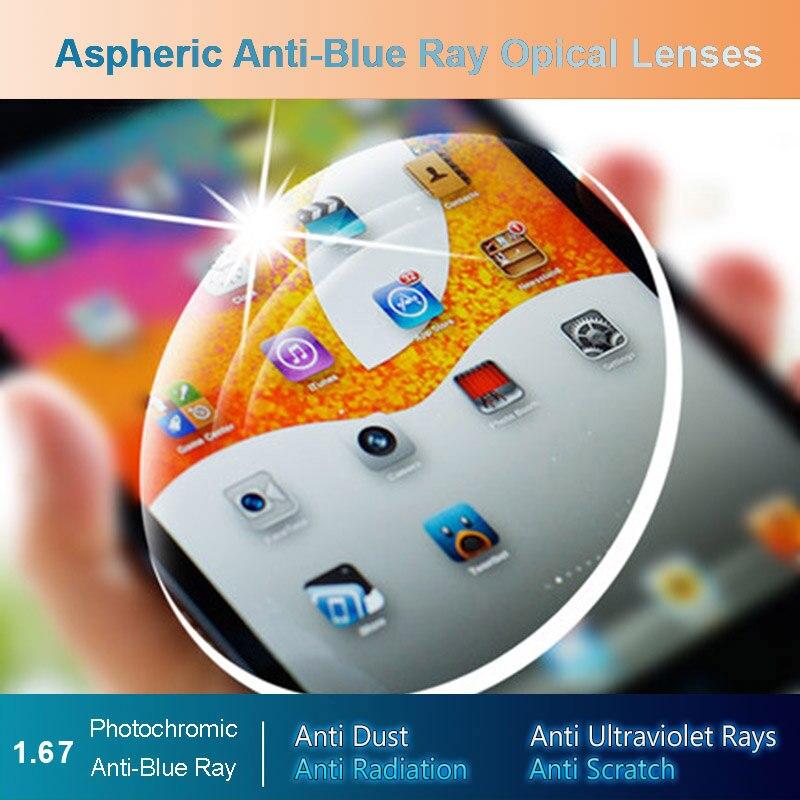 1 67 Anti Blue Ray Photochromic Men and Women Optical Lenses Prescription Vision Correction Lenses for