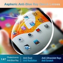 1.67 Anti Blue Ray Photochromic Men and Women Optical Lenses Prescription Vision Correction Lenses for Digital Devices Photogray