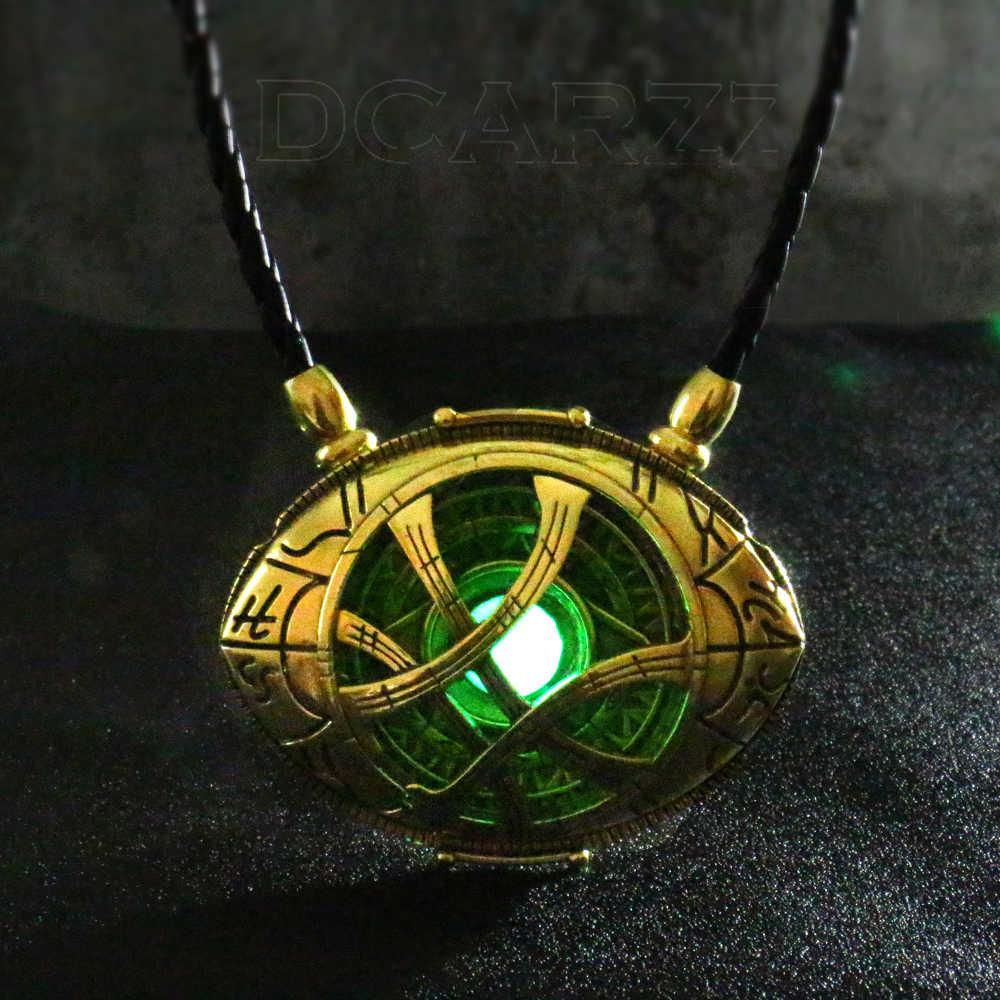 7cm * 5.5cm docteur collier étrange lueur dans la forme des yeux sombres Antique pendentif en Bronze avec cordon en cuir film Costume Cosplay bijoux