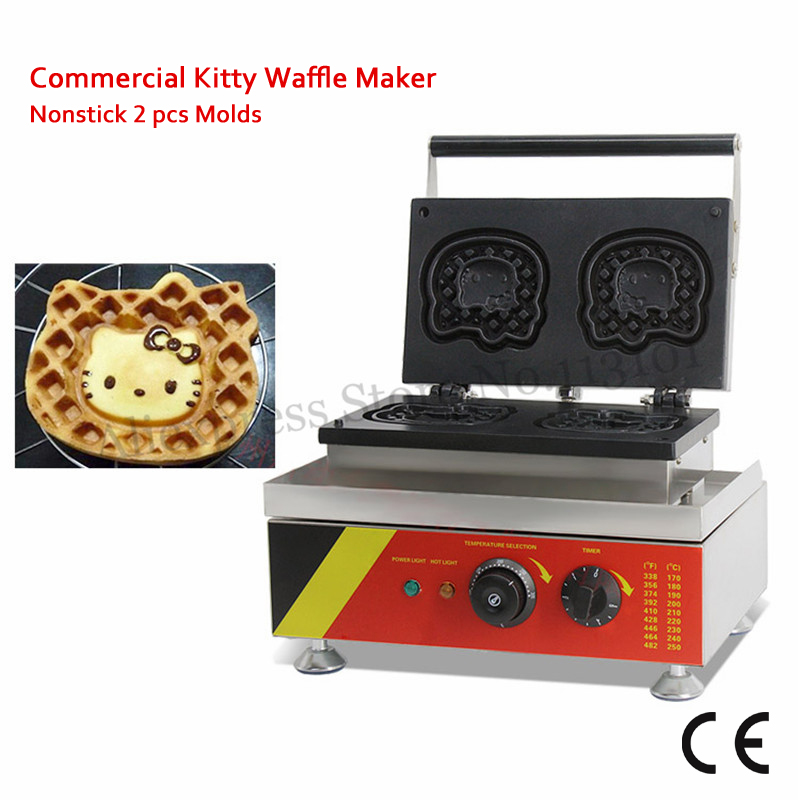 Electric Kitty Cat Waffle Maker Non-stick 2 Molds Cake Machine 1500W Stainless Steel Body Timer and Temperature Controller stick cat