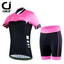 CHEJI Acceleration Cycling Short Kit Bicycle Set Women's Cycle Shirts And Bike Padded Shorts  MTB Suit Pink-Black S-XXL