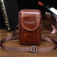 Men's Leather Cowhide Vintage Belt Pouch Purse Fanny Pack Waist Bag For Mobile Phone