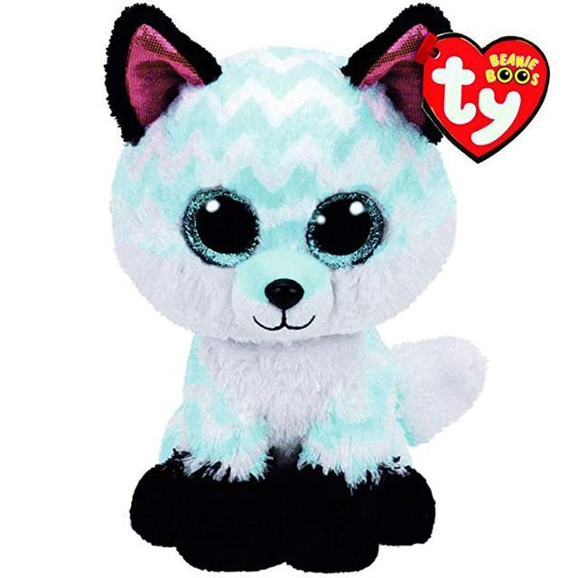 """Ty Vaias Gorro Animais Bonitos Tamanho Pequeno Céu Azul Raposa Boneca de Brinquedo de Pelúcia de Presente de Natal Com a Tag 6 """"15 cm"""