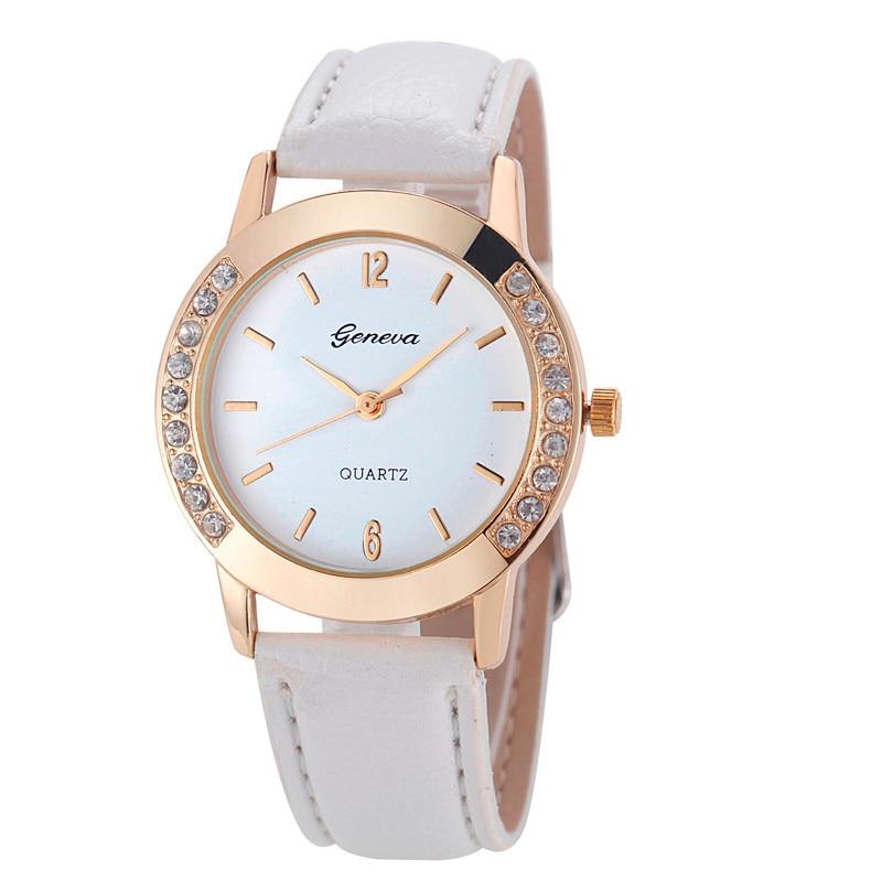watches-Women Fashion Small Diamond relogio feminino  Analog Leather Quartz Wrist Watch Watches bayan kol saati Наручные часы