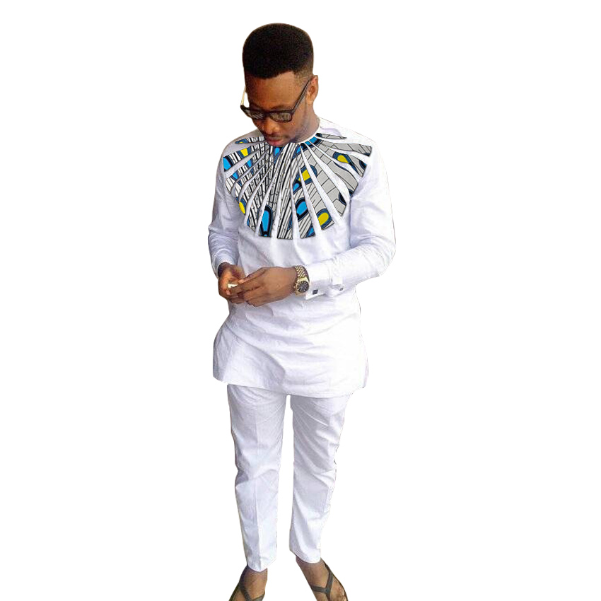 African Print Man Shirts Dashiki Fashion Pant Sets O-neck Top+Trouser 2 Pieces Customized Men's Outfit White African Groom Suit