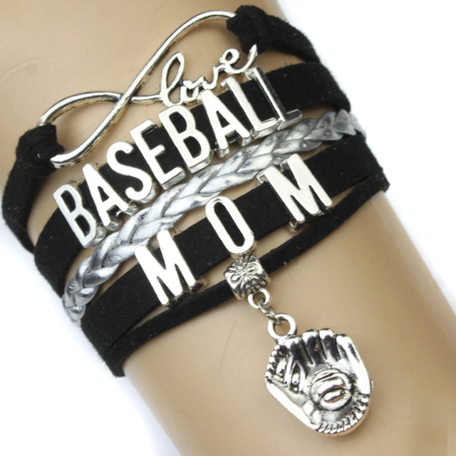 High Quality Infinity Love Baseball Mom Bracelet Glove Charm Lover Black Women S Fashion