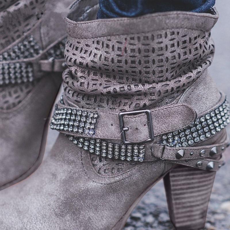 Femme Courtes Femmes Chaussures Montagne Nouvelles Avec Grande Hauts Nan 43 Taille 35 gray Strass Talons Cci Beige 2018 Épais Bottes À xOnS6BwB