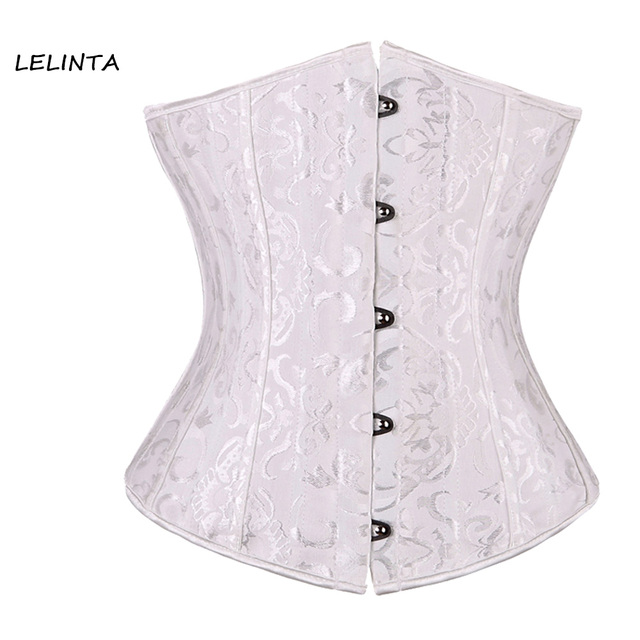 Sexy Lace Up Jacquard Waist Trainer Steel Boned Underbust Corset Bustier Top Plus Size S-6XL Cincher Black White Tummy Control