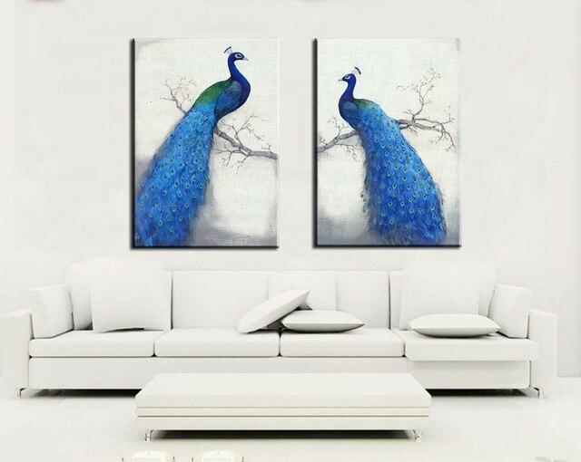Printing Tiere Für Wohnzimmer Malerei Decor Gemälde Edlen Blau Pfau  Wandmalereien Malerei Wand Gedruckt Bild Kunst
