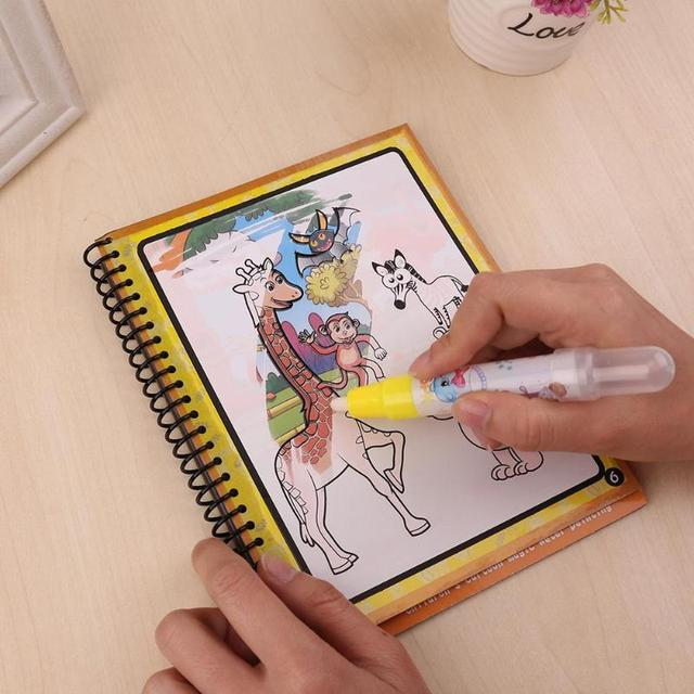 US $3.88 22% OFF|Kids Magic Water Drawing Book Animals Painting Water  Coloring Book Painting Board Children Drawing Early Educational Toy-in  Drawing ...
