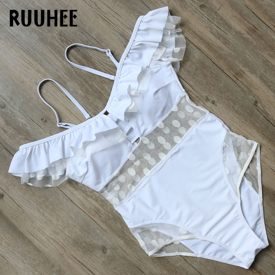 RUUHEE Swimwear Women One Piece Swimsuit 2018 Bodysuit Sexy Mesh Bathing Suit Swimming Suit Monokini Maillot De Bain Bikini  2